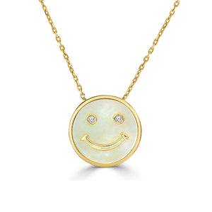 Happy Face Necklace w/ Diamonds and Mother of Pearl - Yellow Gold