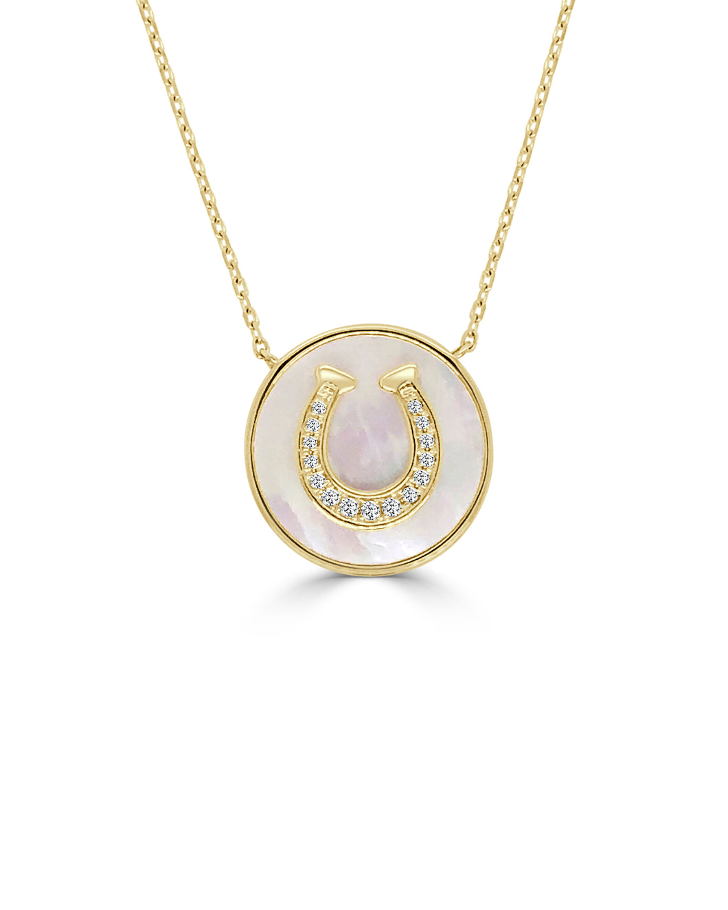 Horse Shoe Necklace w/ Diamonds and Mother of Pearl - Yellow Gold