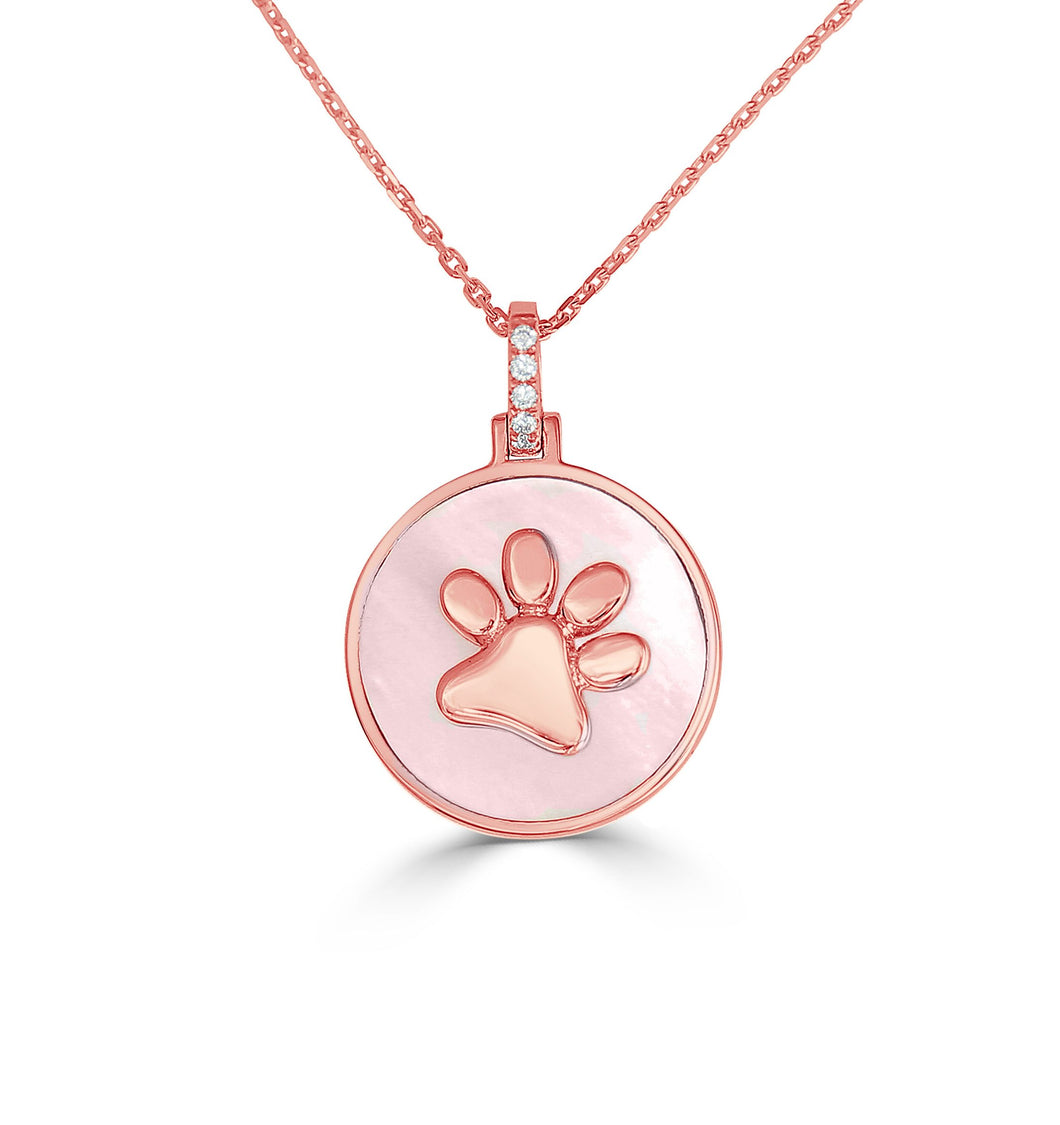 Paw Pendant w/ Diamonds and Mother of Pearl - Rose Gold