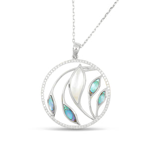 Venus Garden Pendant w/ Abalone and Mother of Pearl - White Gold