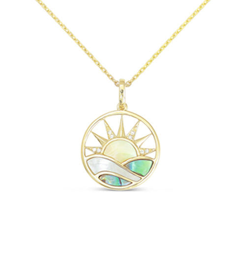 Sunrise Pendant w/ Abalone and Mother of Pearl - Yellow Gold