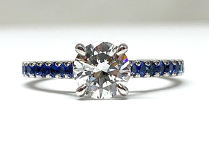 1.03ct Diamond Ring w/ Sapphire Shank - White gold
