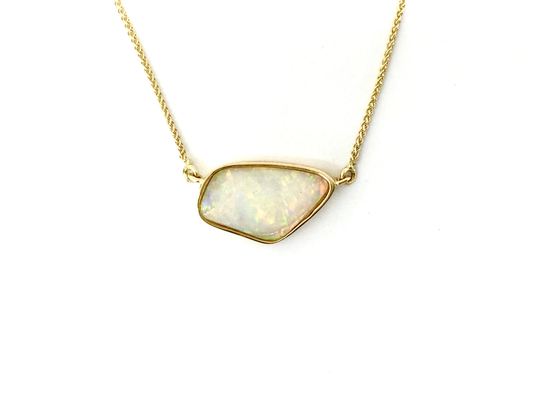 Opal Bezel Necklace - Yellow Gold