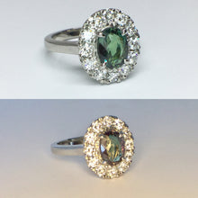 Load image into Gallery viewer, Alexandrite Ring w/ Diamond Halo - Platinum