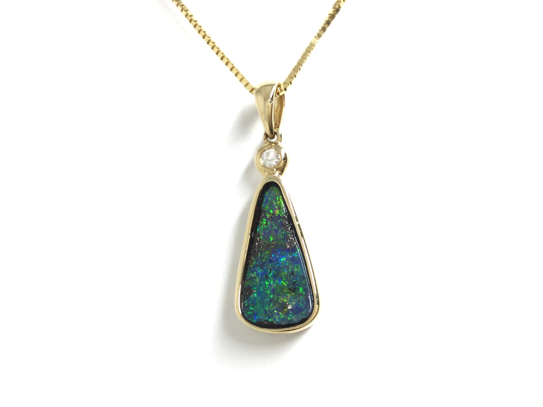 Boulder Opal Bezel Pendant w/ Diamond - Yellow Gold