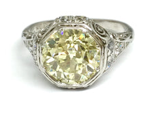 Load image into Gallery viewer, 2.58ctw Old Euro Yellow Diamond Deco Ring GIA - Platinum