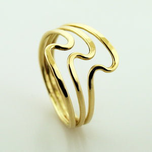 Three-Band S Ring - Yellow Gold