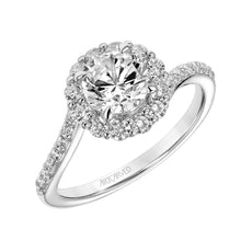 Load image into Gallery viewer, 1.53ctw Wave/Swirl Design Diamond Halo Ring GIA - White Gold