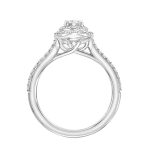 0.81ctw Diamond Double Halo Ring - White Gold
