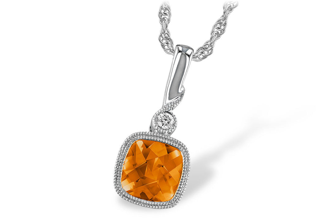Citrine Bezel Pendant w/ Diamond - White Gold