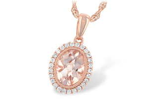 Morganite Bezel Pendant w/ Diamond Halo - Rose Gold