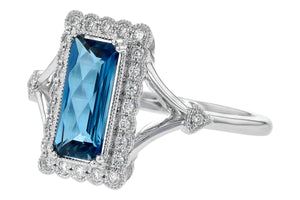 London Blue Topaz and Diamond Ring - White Gold