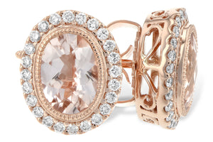 Morganite Bezel Earrings w/ Diamond Halo - Rose Gold