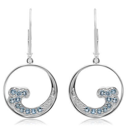 Blue Topaz Wave Dangle Earrings - Silver