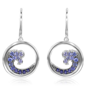 Sapphire Wave Dangle Earrings - White Gold