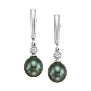 Black Pearl & Diamond Dangle Earrings - White Gold