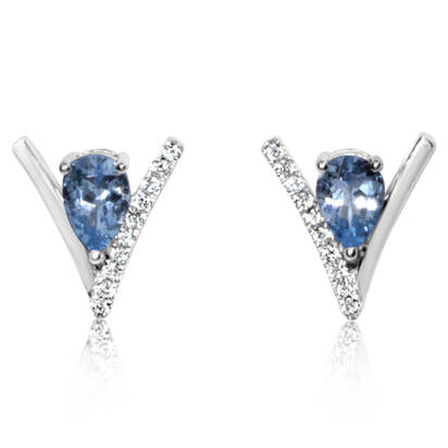 Aquamarine V-Shape Earrings w/ Diamonds - White Gold