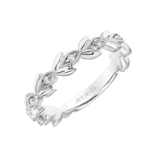 Leaf Design Diamond Band - White Gold