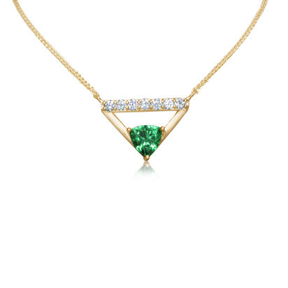 Tsavorite Garnet Necklace w/ Diamonds - Yellow Gold