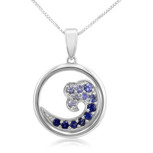 Sapphire Wave Pendant 15mm - White Gold