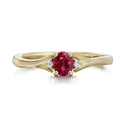 Ruby Ring w/ Diamond Accents - Yellow Gold