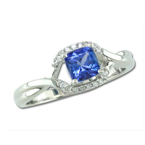 Tanzanite & Diamond Twist/Split Shank Ring - White Gold