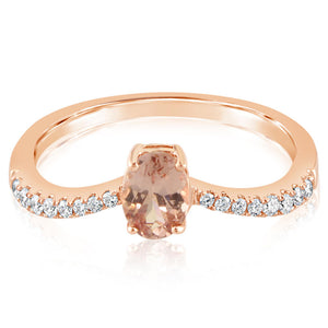 Lotus Garnet V-Shape Ring w/ Diamonds - Rose Gold