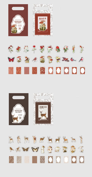Woodland Tea Party Stickers & Decorative Papers Set
