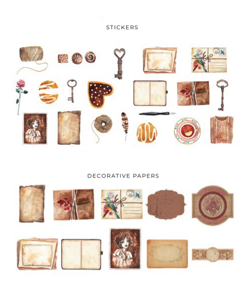 Antique Romance Stickers & Decorative Papers Set