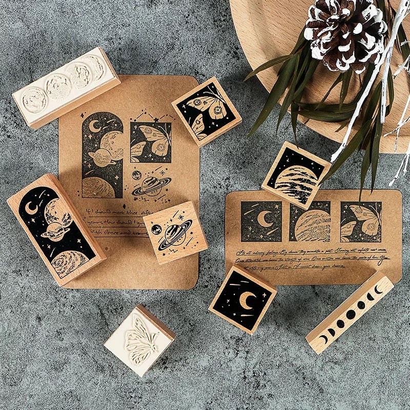 Cosmic Butterfly Wooden Stamps - Set of 8
