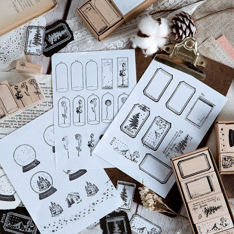 Old Diary Wooden Stamp Set