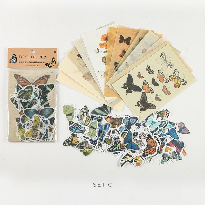 Whimsical Nature Stickers & Decorative Papers Set