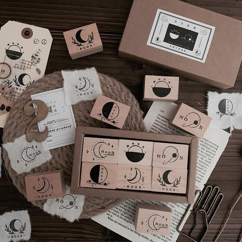 Moon Map Wooden Stamp - Set of 6