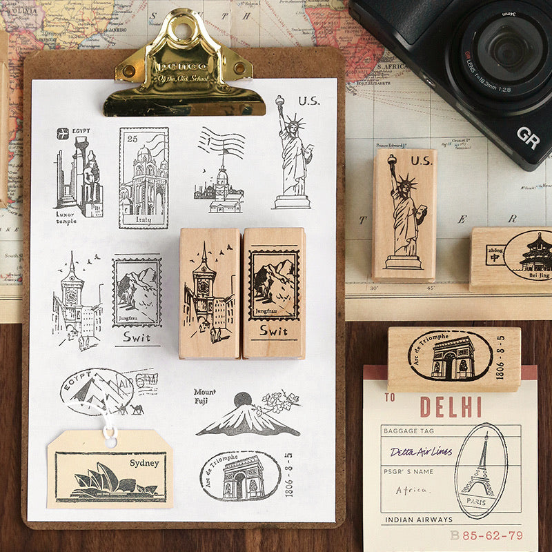 World Travel Wooden Stamps - Set of 2