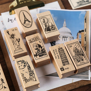 World Travel Wooden Stamp - Set of 2