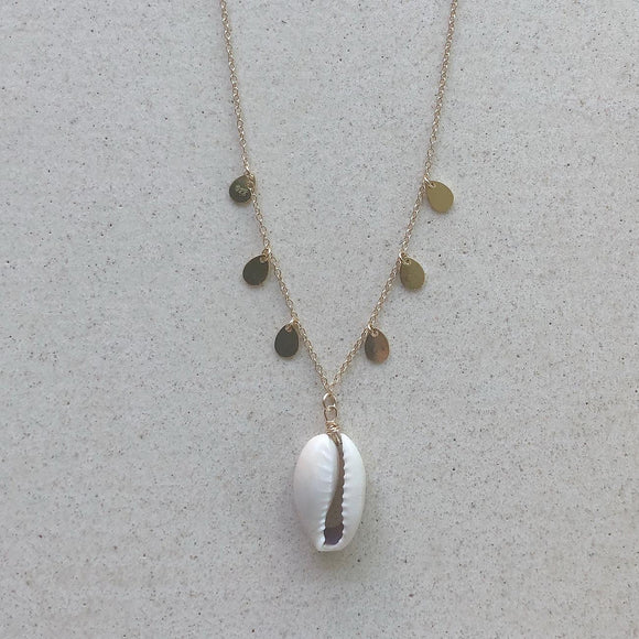 Cowrie Shell with Gold Coins Necklace