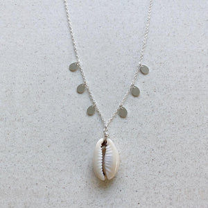Cowrie Shell with Silver Coins Necklace