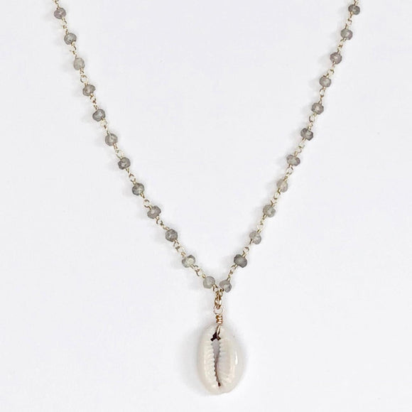 Cowrie Shell with Wired Labrodite Gold Necklace