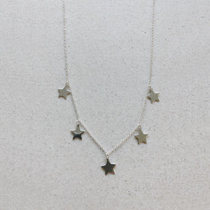 Five Star Silver Necklace