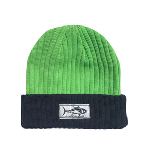 Lime+Navy Cuffed Tuna Beanie