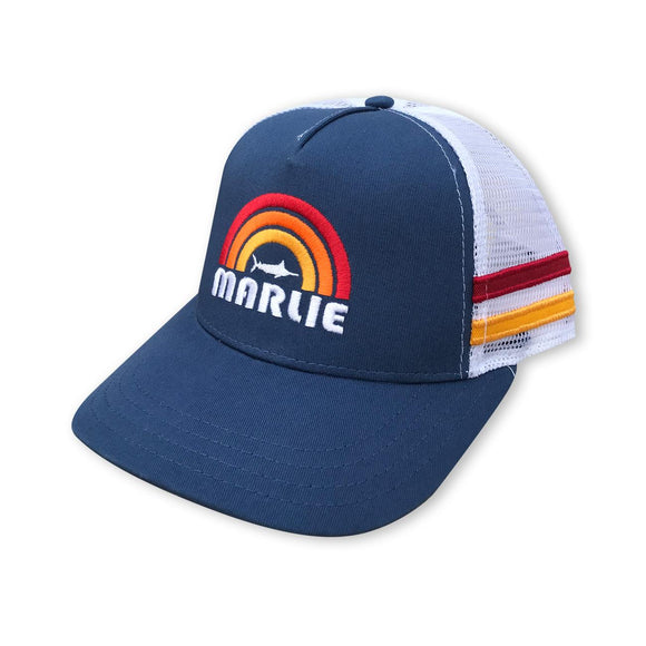Marlie Sun Cobalt and White Trucker with Racing Stripes