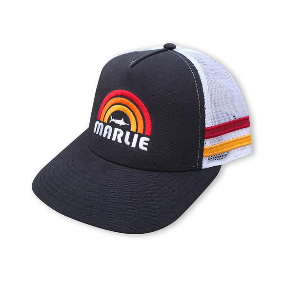 Marlie Sun Navy and White Trucker with Racing Stripes