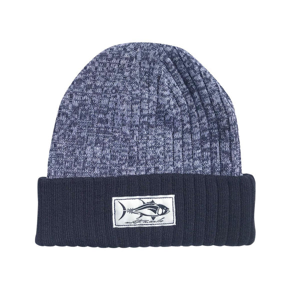 Navy+White Two Colored Navy Cuffed Tuna Beanie