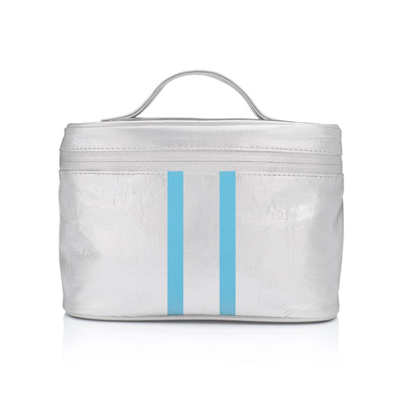 Silver Cosmetic Case with Sky Blue Lines