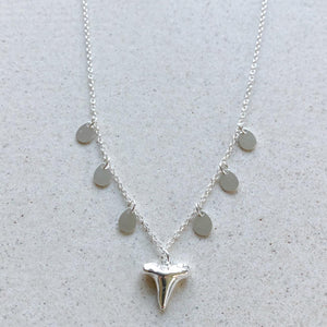 Silver Shark Tooth Small with Coins Necklace