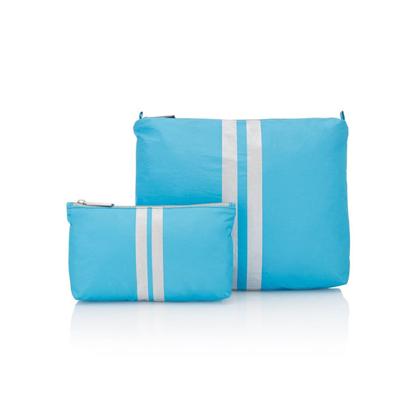Sky Blue with White Lines-Set of Two