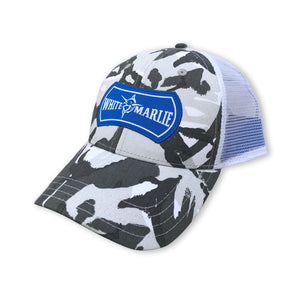 Snow Camo Hat with Blue White Marlie Logo