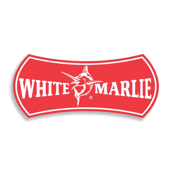 White Marlie Large Red Sticker