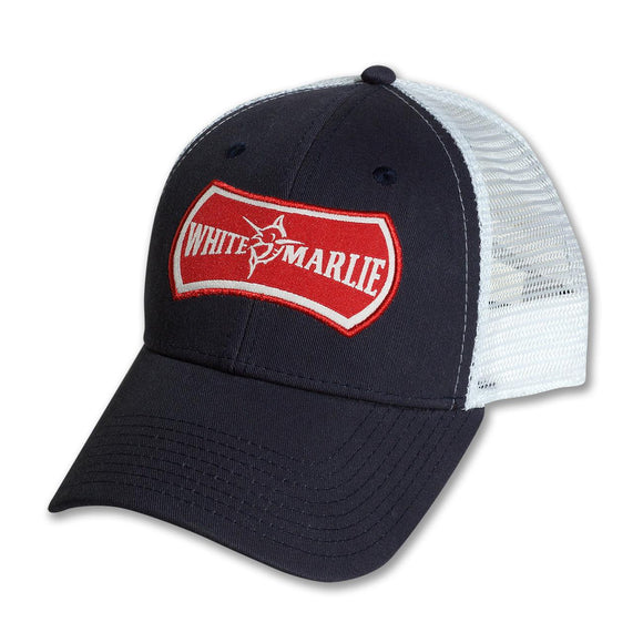 White Marlie Navy Trucker Hat