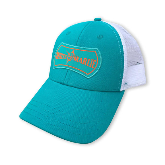 White Marlie Teal Trucker Hat